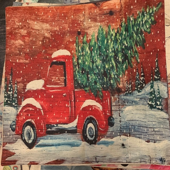 Christmas Red Truck.Pillow Cover New Vintage Christmas Red Truck Nwt